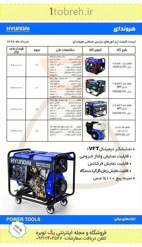 قیمت موتور برق های هیوندای - مرداد 96